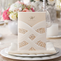 Cheap 2016 New Red Ivory Hollow Lace Wedding Party Invitations Cheap In Stock Laser Cut Wedding Cards with Free Envelope 50 Pieces lot CPA558