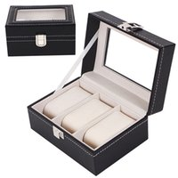 Wholesale 3 Slots Leather Watch Display Box Wristwatch Storage Holder Organizer Case Portable Travel Storage Boxes for Watches Bracelet Black