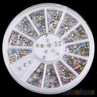 Wholesale 6 Styles Colorful Acrylic Nail Art Stickers Tips Glitter Rhinestone Nail Decorations SJH