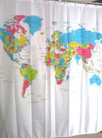 Wholesale Super Deal New Creative Stylish World Map Bath Shower Curtain fabric shower curtain rideau de douche XT