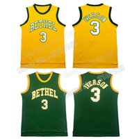 athletic clothing logo - 100 Stitched BETHEL Allen Iverson Jersey High School Iverson Basketball Jersey embroidery logo gym clothing