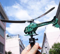 Wholesale Pull the handle aircraft outdoor toys cute little airplane power helicopter aircraft can fly overhead cable