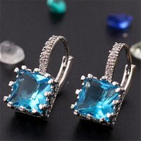 Wholesale Fashion Earring K White Gold Filled Square Cubic Zirconia Crystal Hoop Hot Sale Earrings colors
