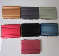 Wholesale Silver Aluminum Business Card Holder Credit Coin Case Mini Suitcase passqord design box stash also offer bracelet stash plastic case