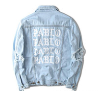 Wholesale hip hop mens jackets and coats brand clothing distressed jean denim jacket men clothes women pablo kanye west