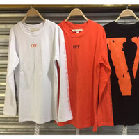 Wholesale 2016 hiphop VLONE X off white tops tees kanye west harajuku kpop friends printed crewneck long sleeve t shirt mens clothes