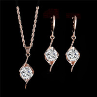 Wholesale New arrivals K Gold plated Unique Shiny Cubic Zirconia Necklace Earrings For Women Wedding Jewelry Sets