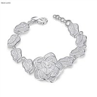 Wholesale Hollow flower bride bracelet plated sterling silver fashion woman jewelry luxury romantic style Valentine s Day gift