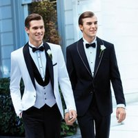 Wholesale Best Sale New Generous White Jacket Plus Size Black Satin Lapel Groom Tuxedos Groomsmen Suit Mens Wedding Suits