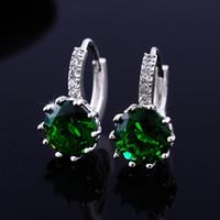 Wholesale 50 off Women Stud Earrings Sterling Silver Black Jewelry Blue Crystal Earring Pink Purple Brincos De Prata
