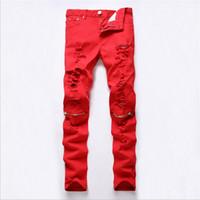 Wholesale New men multi zippers broken hole ripped pants mens sport red joggers skinny night club pants casual jogging trousers pantalon