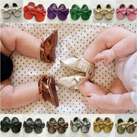 baby booties sale - Hot Sale Baby Girls Soft PU Leather Tassel Moccasins Girls Bow Moccs Baby Booties Toddler Solid Colour Tassel Shoes Moccasin L80