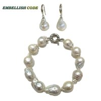 baroque pearl earrings - bracelet hook dangle earrings pearl set baroque style Normal size white color nucleated flame ball shape sterling silver