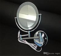 al por mayor marco del espejo de la toma-Espejo de bolsillo de nuevo maquillaje cosmético espejo compacto en blanco con la lámpara del espejo cosmético del espejo del espejo del marco Maquillaje Espejo The Metal