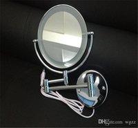 achat en gros de cadre de miroir de fabrication-New Cosmetic Mirror Pocket miroir de maquillage compact blanc avec lampe Miroir Miroir cosmétique Miroir cosmétique Frame Make-Up Mirror The Metal