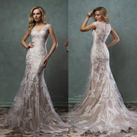 Cheap 2016 Lace Wedding Dresses Mermaid Amelia Sposa Bridal Gown With Scoop Sheer Back Covered Button Ivory Nude Court Train Custom Made Hot