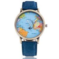 aircraft fabrics - 2016 Causal Fashion Map aircraft Jean Fabric Band Quartz Wrist Watch Men Women Watches for Valentine s Day gift geneva watch