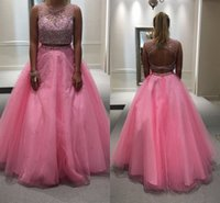 amazing red roses - 2017 Amazing Two Pieces Prom Dresses Scoop Neckline Backless Major Beading Crop A Line Rose Pink Organza Special Occasion Party Dresses