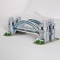 Wholesale 2016 New Mini Educational D Model Puzzle Jigsaw Sydney Harbour Bridge DIY Toy high Quality Children Birthday Gift