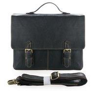 Wholesale Mens Handmade Genuine Top layer leather Briefcase Bag quot Laptop MacbookPro Bag Single Shoulder Bag Black Color