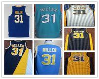 Wholesale Cheap Reggie Miller Basketball Jerseys Green White Yellow Stripe Blue College Shirt Stitched Throwback Jersey