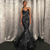 Wholesale Bling Sequined Meramid Black Prom Dresses New Sexy Sweetheart Floor Length Dubai Women Evening Gowns Formal Party Dresses Cheap Sale