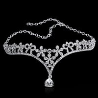 Wholesale Wedding hair accessories bridal head chain silver red color for wedding cubic zirconia diamond alloy heart wedding hair pin