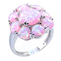 Wholesale New Sale Unique Pink Fire Opal Ring White Gold Filled Crystal Jewelry Vintage Wedding Party Rings For Women Fashion Opal Jewelry DR03010650R