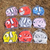 Wholesale New cute children s cartoon swimming cap Fish swim hat silicone cm baby swimming cap C655