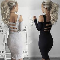 Wholesale 1318 women s clothing women fashion long sleeve backless sexy strap party club dress ladies autumn winter bodycon dresses