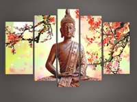 Wholesale 100 Handpainted Best selling Flower At the End of Figure of Buddha High Q Wall Decor Landscape Oil Painting on Canvas set order lt no
