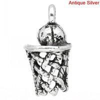 antique basketball hoop - Retail Antique Silver Basketball Net Hoop Sports Charm Pendants x11mm quot x3 quot