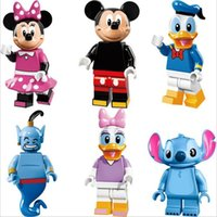 Wholesale 24pcs Collector s edition Minifigures Mickey Minnie Donald Duck Daisy Stitch Genie Building Block Bricks Kids Toys Gift
