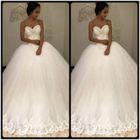 Wholesale Strapless Sexy New White Beaded Lace Tulle Ball Gown Wedding Dress vestidos de noiva Bridal Gowns Wedding Gowns for Bride