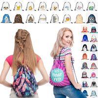 Wholesale 121 Design D print Drawstring Bags Travel Bags Cute Backpack Kids School Bag Cute Sports Handbag Shoulders Bag Children Party Gift