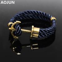 anchor rope double braid - Navy Wind Tom Hope Friendship Wristband Bronze Double Braided Anchor Bracelet Bangle For Women Men Rope Hooks Charm Bracelet V55