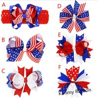 american flag clip - 200pcs American Flag Ribbon Hair Clips American flag Patriotic girl hair bow