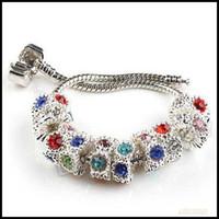 Wholesale 30pcs Mixed Colors Rhinestone Charm Large Hole Beads Fit Bracelet