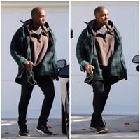 Wholesale Best version kanye west Season series yeezus half zip oversize baggy brown khaki beige grey sweatshirts hoodies hoody