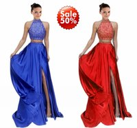 Real Photos Sheath/Column High Neck Sexy 2017 Split Prom Evening Dresses High Neck Two Pieces Crystal Beaded Dress Long Formal Dress Party Crystal Cheap Evening Gowns Custom
