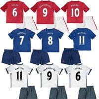 Wholesale 16 kid POGBA soccer jersey children IBRAHIMOVIC maillot top thai SCHWEINSTEIGER Camiseta MARTIAL ROONEY MEMPHIS football shirt