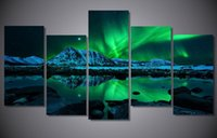 aurora landscape lighting - Blue Green Modern Aurora Borealis Iceland Jokulsarlon Northern Light Canvas Prints Picture Painting with framed ready to hung