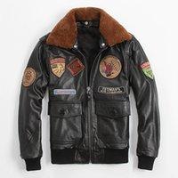 aviator jackets - New Men Black Leather Pilot Jacket Wool Collar Genuine Cowhide Men Winter XXXL Short Slim Fit Aviator Jacket