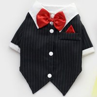 Dog Costumes Spring/Summer Wedding Cat Puppy Clothes Dog Wedding Dress Tuxedo Suit 100% Cotton Coat With Bowtie Chihuahua Dog Clothes ropa para perros pet Apparel