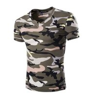Wholesale Summer new men T shirt camouhot flage multicolor v neck camouflage T shirt with short sleeves