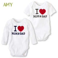 Wholesale I Love MOM DAD Baby Rompers Long Sleeve Newborn Baby Clothing Cotton Girls Boys Clothes roupas de bebe infantil costumes