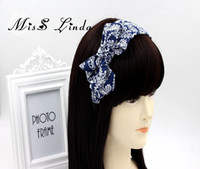 asian design fabric - MisS Linda classic design print hairbands wideside double bow headband flower model headband for female baby hair accessories
