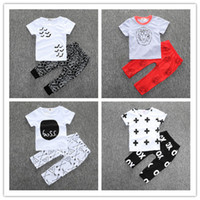 Wholesale New kids baby summer sets newborn cotton short sleeved dots monster cutce cartoon T shirt pants children suit Y