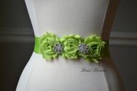 Cheap BEST SELLER - ISLA Lime Green Vintage Inspired Bridal Sash   Shabby Chiffon Flower Wedding Dress Sash   Belt Ribbon Bridesmaids   Rhinestone