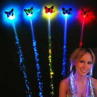 Wholesale Flash LED Hair Women Girl Braid Clip Butterfly Hairpin Decor For Party Dance Gift